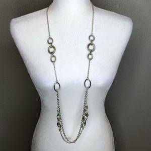 Premier designs long silver statement necklace